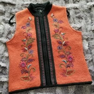 ICELANDIC DESIGN Orange and Black Wool Vest
